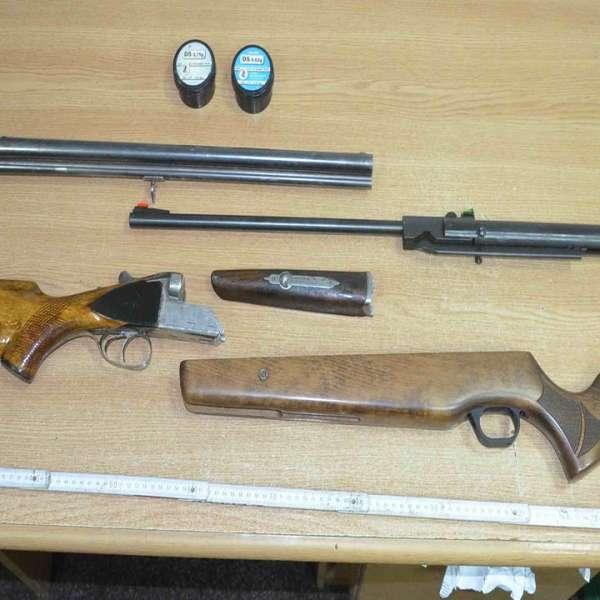 Arme de vânătoare şi alice fără documente de provenienţă, depistate cu ajutorul câinelui Abay